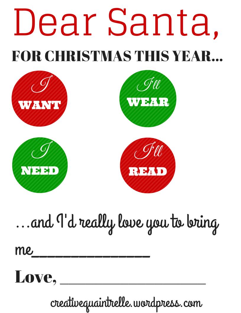 A Letter To Santa  Creative Quaintrelle